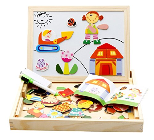 Lewo Double Sided Easel Magnetic Puzzles Drawing Board Games Writing Kit for Boys Girls