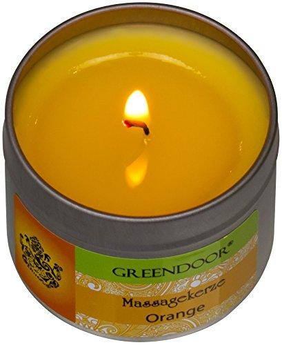 Greendoor BIO Massagekerze Orange, 100 ml - BIO Sojawachs & BIO Babassuöl, natur-reines Orangen-Öl - vegan, rußt nicht, keine Tierversuche - besonderes Geschenk, Massageöl Massage Öl - 3