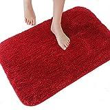 Dada Badteppich Badezimmer Teppich Rutschfest saugfähig Luxus flauschig weich Mikrofaser 50x 80cm, grau–3Größen 5Farben erhältlich, Microfaser, rot, 50×60