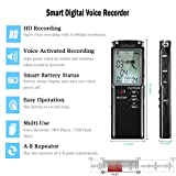 Digital Voice Recorder, ieGeek 8GB 1536Kbps USB Sound Audio Recorder Multifunctional Portable Rechargeable HD Recording Dictaphone Voice Activated/Noise Cancelling/Double Microphone/LCD Screen/Plug and Play, Digital Audio MP3 Player With Headphones for Meeting, Class, Lectures, Conferences, Interviews - Black from ieGeek