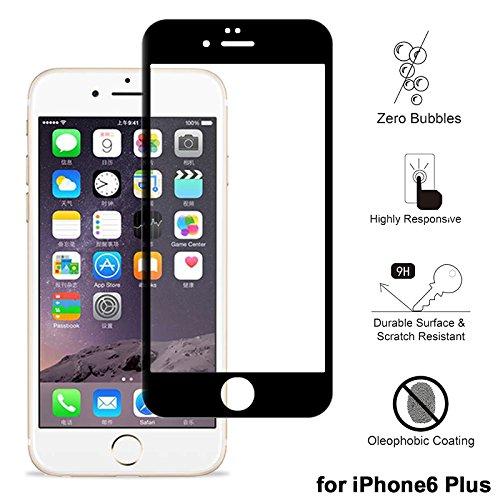 """Displayschutzfolie für iPhone 6/6S Plus, xhorizon TM 3D Full Coverage Hartglas Displayschutzfolie für iPhone 6 Plus / iPhoen 6S Plus [5.5""""] Schwarz"""