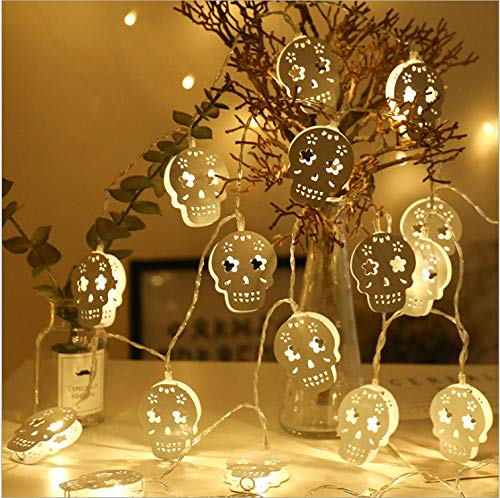 Ladawang 10M 80 Led Halloween Laterne Hohlen Schmiedeeisen Lampe Skelett String Ghost Festival Dress Up Kürbis Ghost Battery Light Batteriebetrieb -