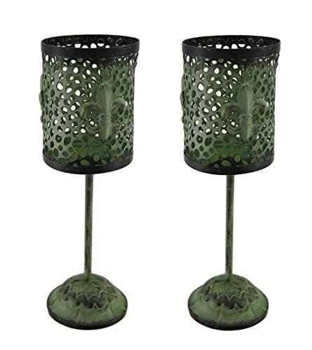 Set di 2portacandele verde vintage, con piede in metallo Fleur de lis