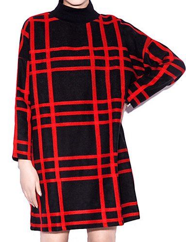 PU&PU Robe Aux femmes Ample Simple,Rayé Col Arrondi Au dessus du genou Polyester RED-XL
