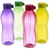 Tupperware Aquasafe Plastic Water Bottle Set, 500ml, Set of 4, Multicolor