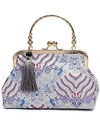 Hembra Bolso de las mujeres del estilo chino, bordado de la manera étnica hecho a mano patrón de las señoras totalizador bolsas de hombro…