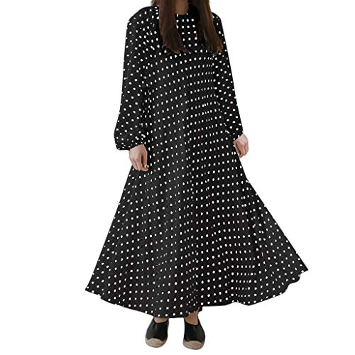 LILICAT_Winter Damen Lange Ärmel Kleid Mode Strandkleid Lässige Polka Dots Pinup Maxikleider...