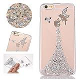 Sycode Transparent Glitzer Silber Fee Fairy Mädchen Durchsichtig Hülle für iPhone 6 Plus/6S Plus 5.5