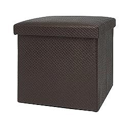 EZ Life Collapsible Elegant Square Pouf Ottoman - Brown Checks - PU Leather & MDF