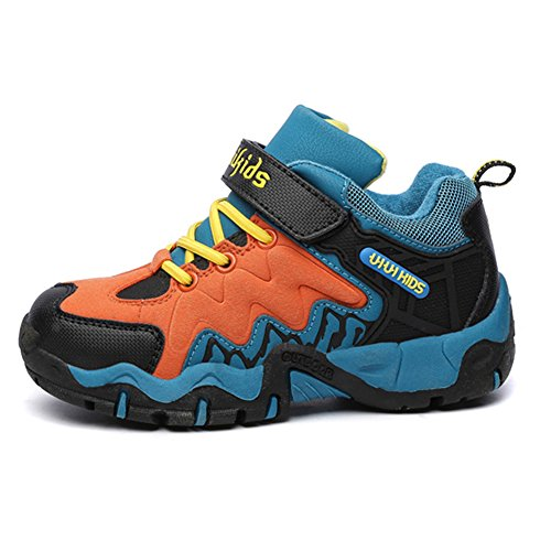 SaiDeng Enfants Garçons Filles Respirant Velcro Outdoor Chaussures Sneaker Neige Bottes Noir Orange