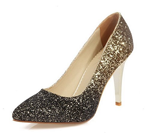 VogueZone009 Femme Matière Souple Pointu Stylet Couleurs Mélangées Chaussures Légeres Doré