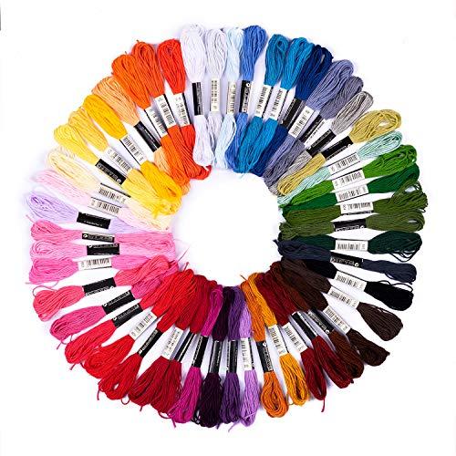 pajoma Stickgarn Set 73-teilig Multifarben aus Polyester perfekt für Freundschaftsbänder, Stickerei, Kreuzstich, Accessoires