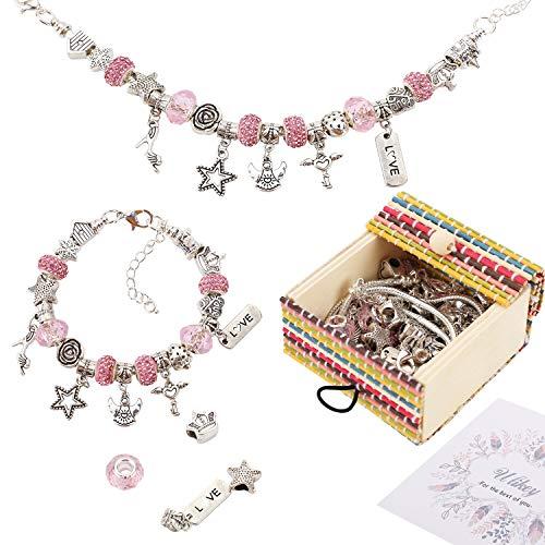 Ulikey Charm Armband Kit DIY Mädchen, Schmuck Bastelset Handwerk Perle überzogen mit Silber Kette - Geschenkset für Teenager-Mädchen zum Selbermachen von Armbändern und Halsketten