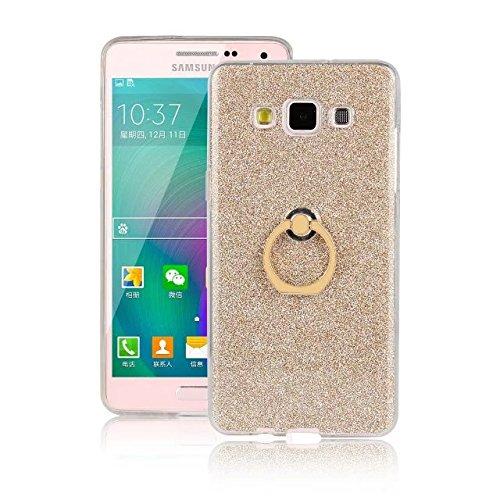 Luxus Bling Sparkle Style Case, Soft TPU [Silikon] Flexible Glitter Rückentasche mit Fingerring Stand [Anti Scratch] [Shockproof] für Samsung Galaxy A3 ( Color : White ) Gold