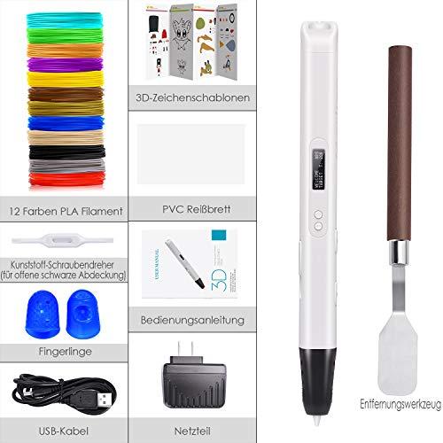 3D Druck Stift mit OLED-Bildschirm, Jiamus intelligente 3D Drucker Zeichnung Stift, kompatibel mit 1,75 mm PLA / ABS Filament,12 Fuß in 120 Farben,für Kinder und Erwachsene,Typen für Handwerk,Kunst & Modell, am besten für DIY-Geschenk. - 2