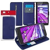 Cotechs® - Slim Schlag Standplatz Mappen Blau Fall BRIEFTASCHE / Fall / Hülle / Schutzhülle mit Integrierte Stand für Motorola Moto G (3rd Gen)