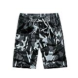 NiSeng De Los Hombres De Pantalones Camuflaje Cortos De Boardshorts Beachshorts De La Playa Del Verano Surf Shorts Gris 3XL