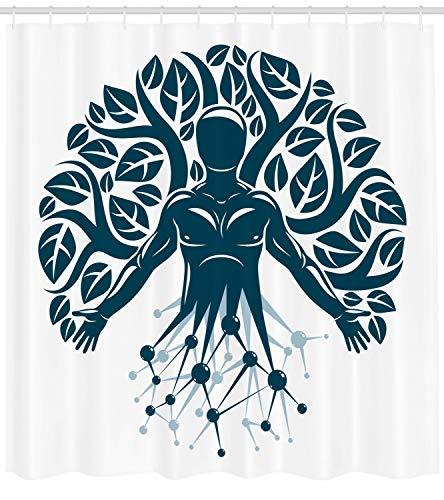 ABAKUHAUS Biologie Duschvorhang, Human Nature Wissenschaft Eco, mit 12 Ringe Set Wasserdicht Stielvoll Modern Farbfest und Schimmel Resistent, 175x200 cm, Dunkel Petrol Blau und Weiß -