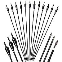 12pcs 31inch Flechas de Carbono de Tiro con Arco Flechas de Caza reemplazo Puntas de Flecha Ballesta Compuesto y Arco recurvo 30-70lbs