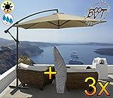 3x PREMIUM XXL Ampelschirm Ø 3,00 m, 6-teilige Form, beige / weiss mit ca. 200 g/m² Polyester, Sonnenschirm mit Hülle UV50+ KOMPLETT mit Standkreuz, Standfuß + ca. 50 mm Mast, Hängeschirm Sonnendach Überdach, Schirm Strandschirm, Sonnenschirm, beige hellbraun hell-weiss einfarbig uni, PREMIUM XXL-Schirm, Gartenschirm extrem wetterfest, faltbar, tragbar, seewasserfest, hochwertig robust stabil, Sonnenschutz, stabiler Schirm Schirm