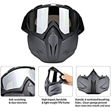 AimdonR - Máscara desmontable para motocicleta, motocicleta, motocross, motocicleta, descongelación, equitación, carreras, motos de cross, casco, máscara para hombres, mujeres, jóvenes y niños