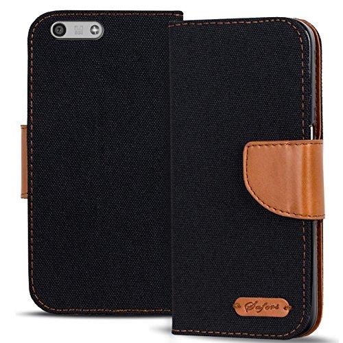 Verco Ascend P7 Mini Hülle, Schutzhülle für Huawei P7 Mini Tasche Denim Textil Book Case Flip Case - Klapphülle Schwarz