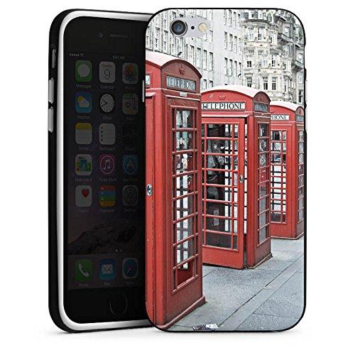 Apple iPhone X Silikon Hülle Case Schutzhülle Rote Telefonzelle England Großbritannien Silikon Case schwarz / weiß