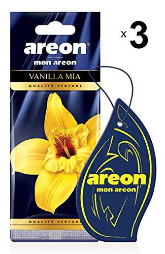 Areon Mon Profumo Auto Vaniglia Mia Deodorante Dolce Originali Da Appendere Blu Pendente Specchietto Retrovisore Cartoni 2D Casa Set ( Vanilla Mia Pack x 3 )