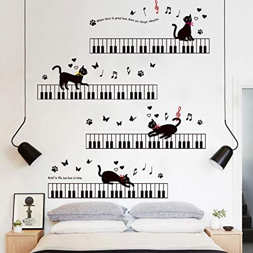 YzybzDie Katze Auf Dem Klavier Musik Wandaufkleber Für Kinderzimmer Schlafzimmer Kunst Sockelleisten Pvc Sockelleiste Schmetterling Wand-Dekor