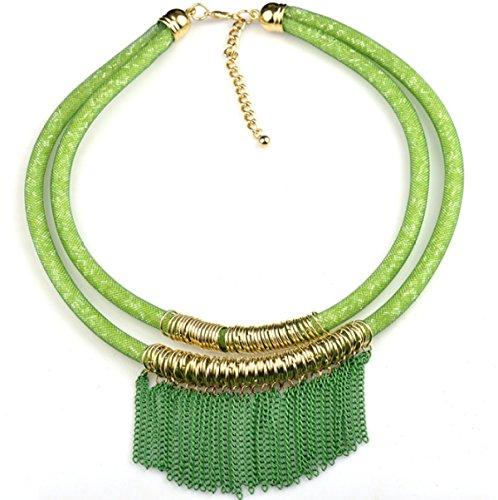 Chaîne De Mode Européenne Et Américaine Pompon Double Filet Clavicule Collier Chandail green
