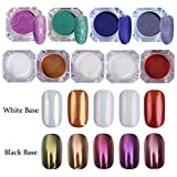 NICOLE DIARY 9 Boxes Mirror Effect Chrome Pigment & Holographic Laser Glitter Kit Ultra-thin Starry Shining Manicure Nail Art Glitter Powder Set