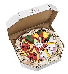Idea Regalo - PIZZA SOCKS BOX - MIX Vegetariana Capricciosa Pepperoni - 4 paia di CALZINI Divertenti di COTONE, Originali e Unici - REGALO perfetto - Gadget Colorato| per Donna e Uomo, EU 41-46, Made in Europa