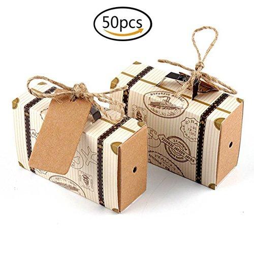 gkeiten Geschenkbox 50 Stücke Mini Koffer Karton Geschenk Taschen für Hochzeit Geburtstag Party Süße Schokolade Boxen Weihnachtsdekoration ()