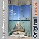 ORIGINAL plateART Eck-Duschrückwand, Wandverkleidung, Wandbild, Rückwand Alu-Dibond OHNE FUGEN, Fliesenersatz, Steg Malediven-Motiv
