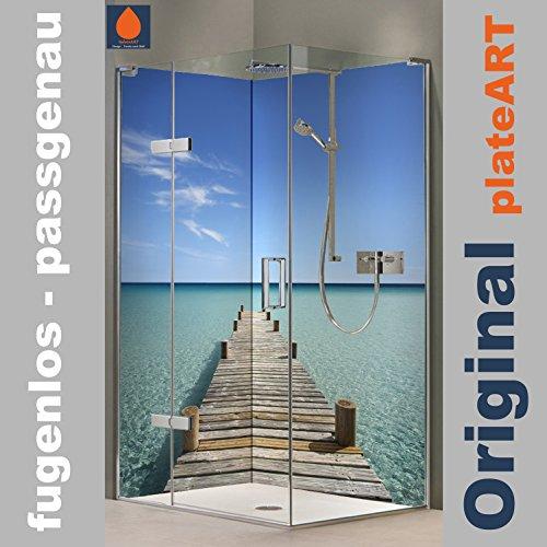 Preisvergleich Produktbild ORIGINAL plateART Eck-Duschrückwand, Wandverkleidung, Wandbild, Rückwand Alu-Dibond OHNE FUGEN, Fliesenersatz, Steg Malediven-Motiv