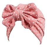 JERKKY Bebés niñas Punto Lunares Estampado Floral Sombrero Turbante Bowknot Beanie Gorra elástica G #