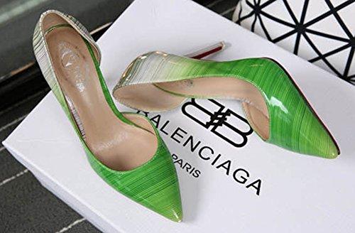 23960d4b6b2e6d Aiguille Talon Haut Femme Vert Vernis Sexy Escarpins Aisun SxItww
