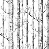 Soledi® - Carta da parati con motivo alberi della foresta, superficie operata