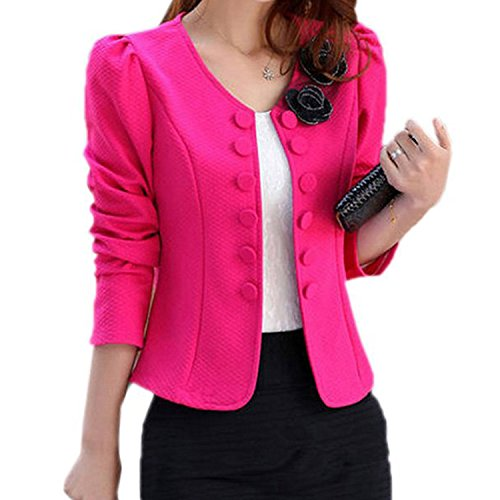 SODIAL(R) Women's Fashion Slim Jacket Suit Blazer Long Sleeve Short Coat Outerwear Rose Red L Test
