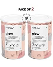 Cureveda Glow Plant Based Collagen Builder 100% Veg and Natural Beauty Protein with Pearl powder, Evening Primrose, Vitamin E, Sea Buckthorn, Grape Seed - complexion, Hydration, pigmentation - Essential Skin Nutrition - 300 gm (Pack of 2)
