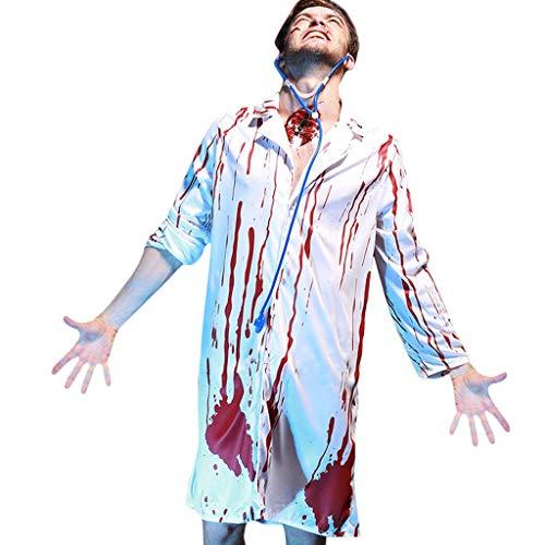 XUDSJ Halloween,Lack Kleid,hexenkostüm, Kostüm-Stethoskopklage-Bluthorror-männliche Doktorkostüm-Parteidekoration Der Halloween-Partei Beängstigende (Color : White, Size : One Size) (Halloween Wissenschaftler Kostüm)
