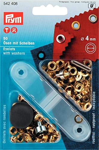 Prym 542408 Ösen und Scheiben Messing 4,0 mm goldfarbig, Metal, 4 mm (ösen 1 4)
