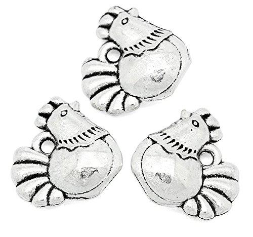 10x Tibet Silber Cute Huhn Henne Ostern Chick Hahn Bird 3D Charm Anhänger