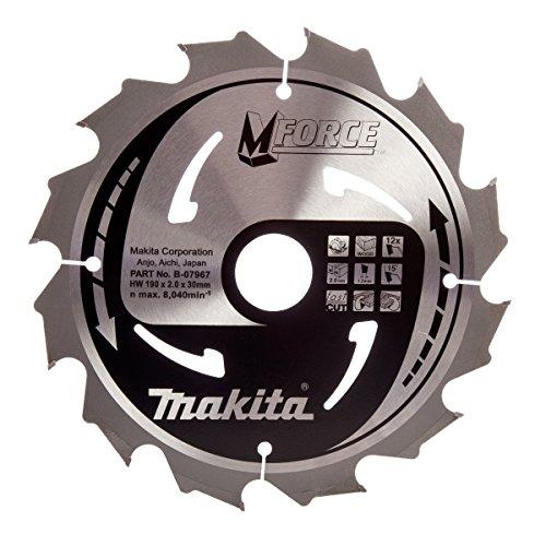 Makita b-07967190x 30mm Force Coupe sûr Lame de scie circulaire pour bois avec 12dents-Rouge/Argent