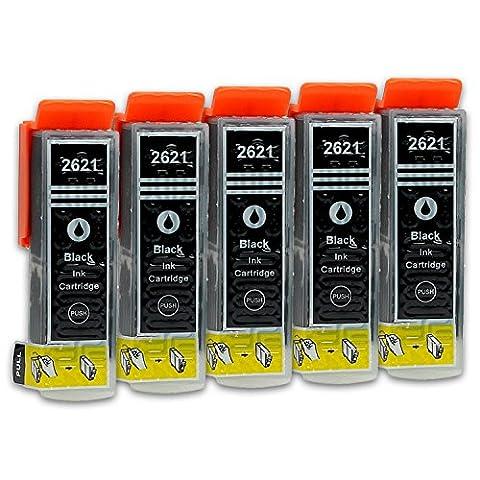 5 Cartouches d'Encre compatible avec Epson T2621 (Noir)