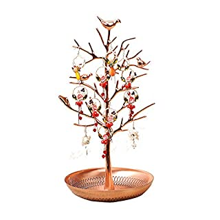 Vinallo Jewellery Display/Stand/Holder - New Rose gold Birds Tree Earring Necklace Bracelets Jewelry Holders Hanging Organiser Rack Tower