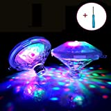 Lampe flottante sous-marine LED Disco Aqua Glow Multi couleur clignotant bain étang piscine Spa Spa Party Night Light avec 7 modes de motif