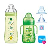 MAM Flaschen Babyflaschen Easy Active Baby Bottle Set Uni // 1 x Baby Bottle 330 ml mit Sauger Gr.2 // 1 x MAM Trainer mit Sauger & Soft-Trinkschnabel