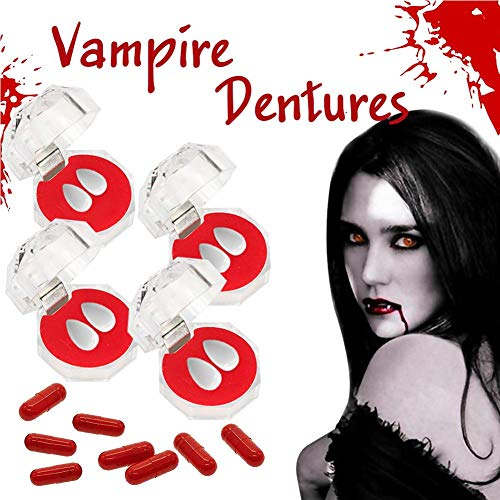 Kit Kostüm Vampir Gebiss - jaspenybow Vampir Gebiss Set Vampir Zähne Zähne Gebisse Blut Kapsel Vampir Zähne Kit Cosplay Requisiten Halloween Kostüm Requisiten Halloween Party Cosplay Horror Dekoration