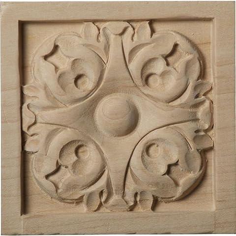 Ekena Millwork ROS03X03LFAL Medium Leaf Rosette, 3 1/2-Inch x 3 1/2-Inch x 3/4-Inch, Alder